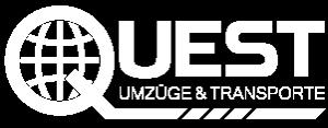Quest Umzüge und Transporte Logo weiß.