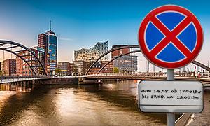 Quest Umzüge und Transporte - Halteverbotszone in Hamburg..